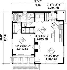 Planos de una casa moderna, pequeña y con un dormitorio